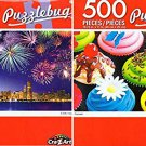 Cra-Z-Art Fireworks Over Chicago Skyline - Cupcakes - 500 Piece Jigsaw Puzzle (Set of 2)