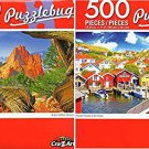Wooden Houses on The Harbor - South Gateway Rock Formation - 500 Piece Jigsaw Puzzle (Set of 2)
