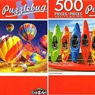 Row of Colorul Kayaks - Hot Air Balloons Night Glow - 500 Piece Jigsaw Puzzle (Set of 2)
