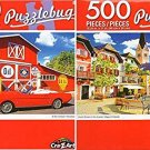 Quaint Square in The Austria Village of Hallstatt - Red Convertible - 500 Piece (Set of 2)