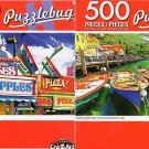 Carnival Candy Apple and Pizza Stands - Colorful Wooden Boats - 500 Piece Jigsaw Puzzle (Set of 2)