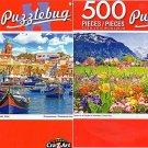 Flowers in a Garden in Interlaken - Mediterrane an Fishing Vilage - 500 Piece (Set of 2)