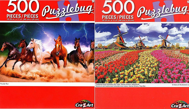 Thunder Run - Traditional Dutch Windmils - 500 Piece Jigsaw Puzzle (Set of 2)