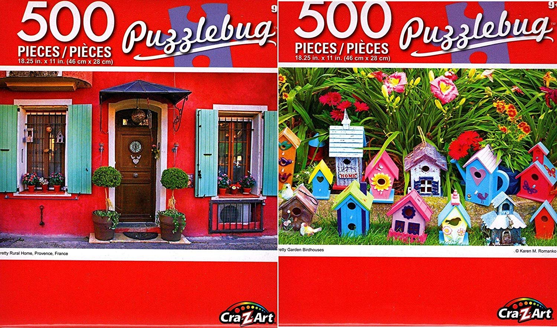 Pretty Garden Birdhouses - Pretty Rural Home - 500 Piece Jigsaw Puzzle (Set of 2)