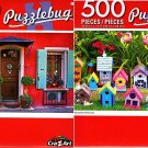 Pretty Garden Birdhouses - Pretty Rural Home - 500 Piece Jigsaw Puzzle (Set of 2)