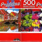 Colorful Street - Paris Flower Stend - 500 Piece Jigsaw Puzzle (Set of 2)