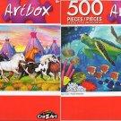 Indian Ponies by John Crisp - Sea Turtles - 500 Piece Jigsaw Puzzle (Set of 2)