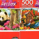 Autumn Mill by Lee Radcliff - Precious Pandas by Howard Robinson - 500 Piece (Set of 2)