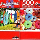 Colorful Sugared Doughnuts - Colorful Hawaii Surtboards - 500 Piece Jigsaw Puzzle (Set of 2)