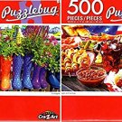 Colorful Garden Boot Planters - Burgers and Hot Dogs - 500 Piece Jigsaw Puzzle (Set of 2)