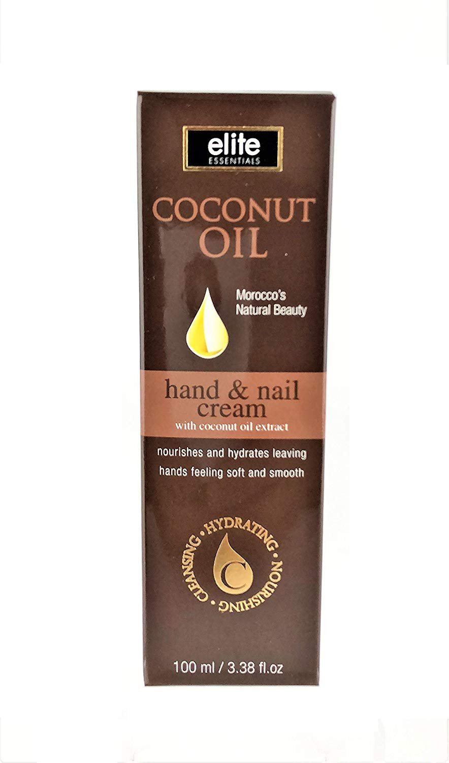 Coconut Oil Hand & Nail Cream by Elite Essentials - with Coconut Oil Extract (3.38 fl. oz.)