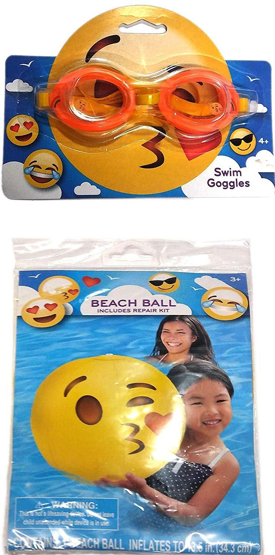 What Kids Want Swim Goggles & Beach Ball - Includes Repair Kit - Swim Time Fun! - (2 Pack)