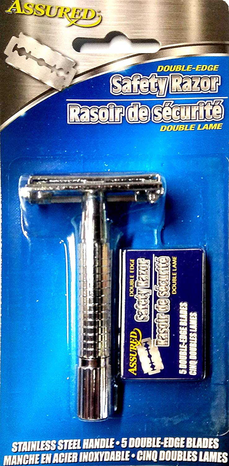 Classic Double Edge Safety Razor - Stainless Steel Handle + 5 Double Edge Blades