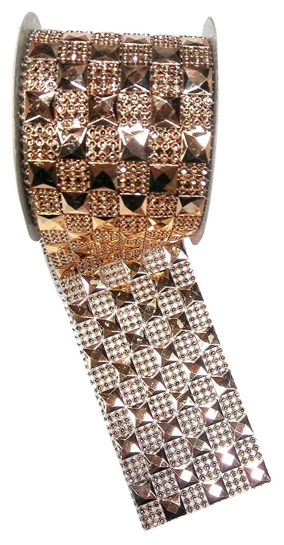 (Pack of 2) Gold Diamond Sparkling Mesh Ribbon for Event Decorations, Wedding Cake, Birthdays.