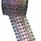 (Pack of 2) Multicolored Diamond Sparkling Mesh Ribbon for Event Decorations, Wedding Cake