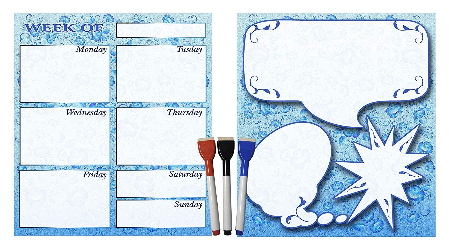 (Set with 5 Items) - Weekly Magnetic Calendar + Message Board + 3 magnetic dry erase marker v4