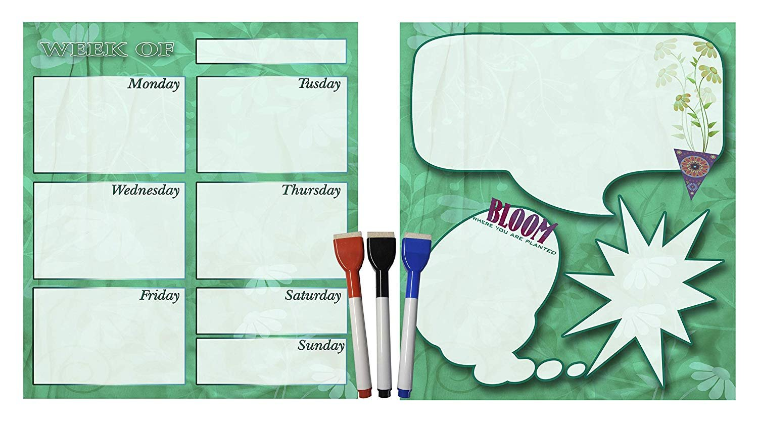 (Set with 5 Items) - Weekly Magnetic Calendar + Message Board + 3 magnetic dry erase marker v5