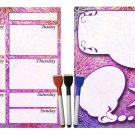 (Set with 5 Items) - Weekly Magnetic Calendar + Message Board + 3 magnetic dry erase marker v6