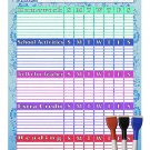 (Set with 4 Items) - My to do List/Planner/Progress Charts) + 3 Magnetic Dry Erase Marker v4