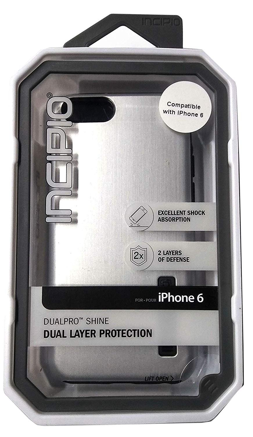 DualPro - Shine - Dual Layer Protection Hard-Shell Case Apple iPhone 6 - Gray/Black