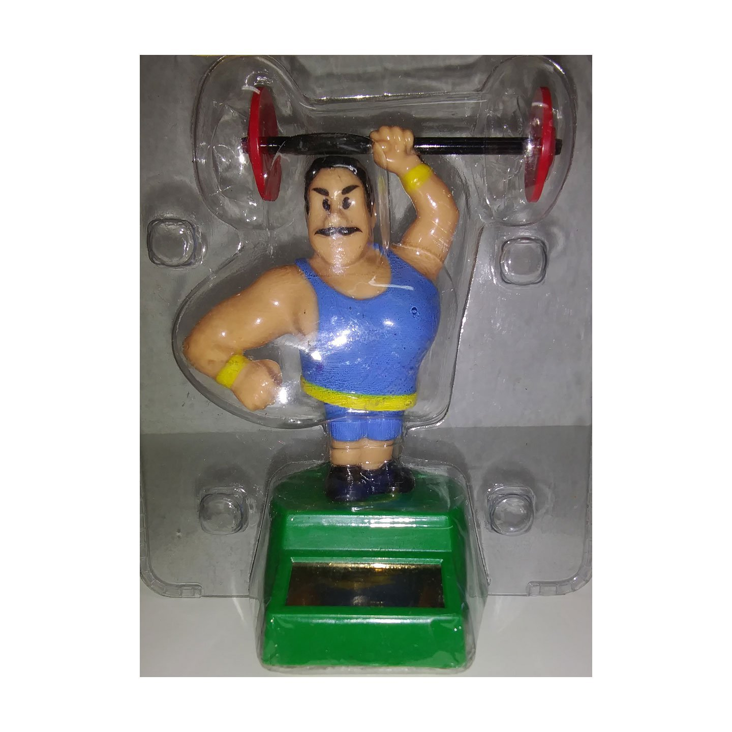 Plastic Solar-Powered Swinging Weight Lifting Man Style May Vary