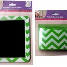 Locker Accessories (Set of 2) Mirror and Locker Pen Cup (Chevron Print)