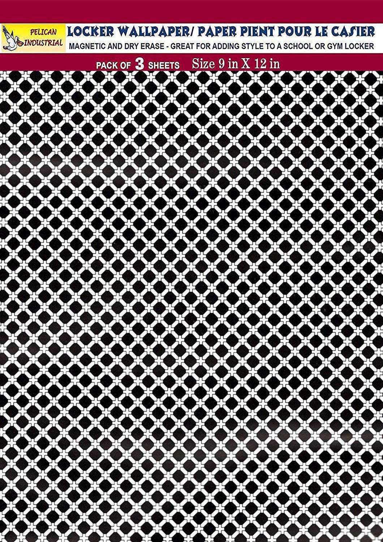 Magnetic Locker Wallpaper (Full Sheet Magnetic) - Black & White - Pack of 3 Sheets - v2b