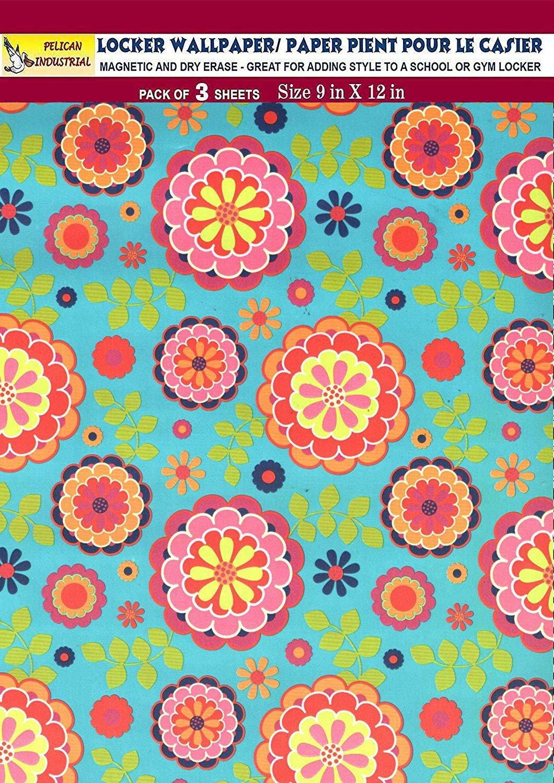 Magnetic Locker Wallpaper (Full Sheet Magnetic) - Flowers - Pack of 3 Sheets - v3b