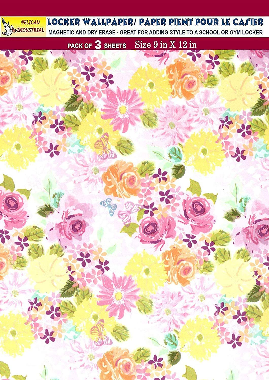 Magnetic Locker Wallpaper (Full Sheet Magnetic) - Flowers - Pack of 3 Sheets - v4b
