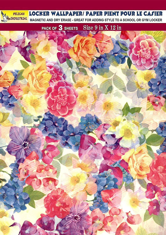 Magnetic Locker Wallpaper (Full Sheet Magnetic) - Flowers - Pack of 3 Sheets - v6b