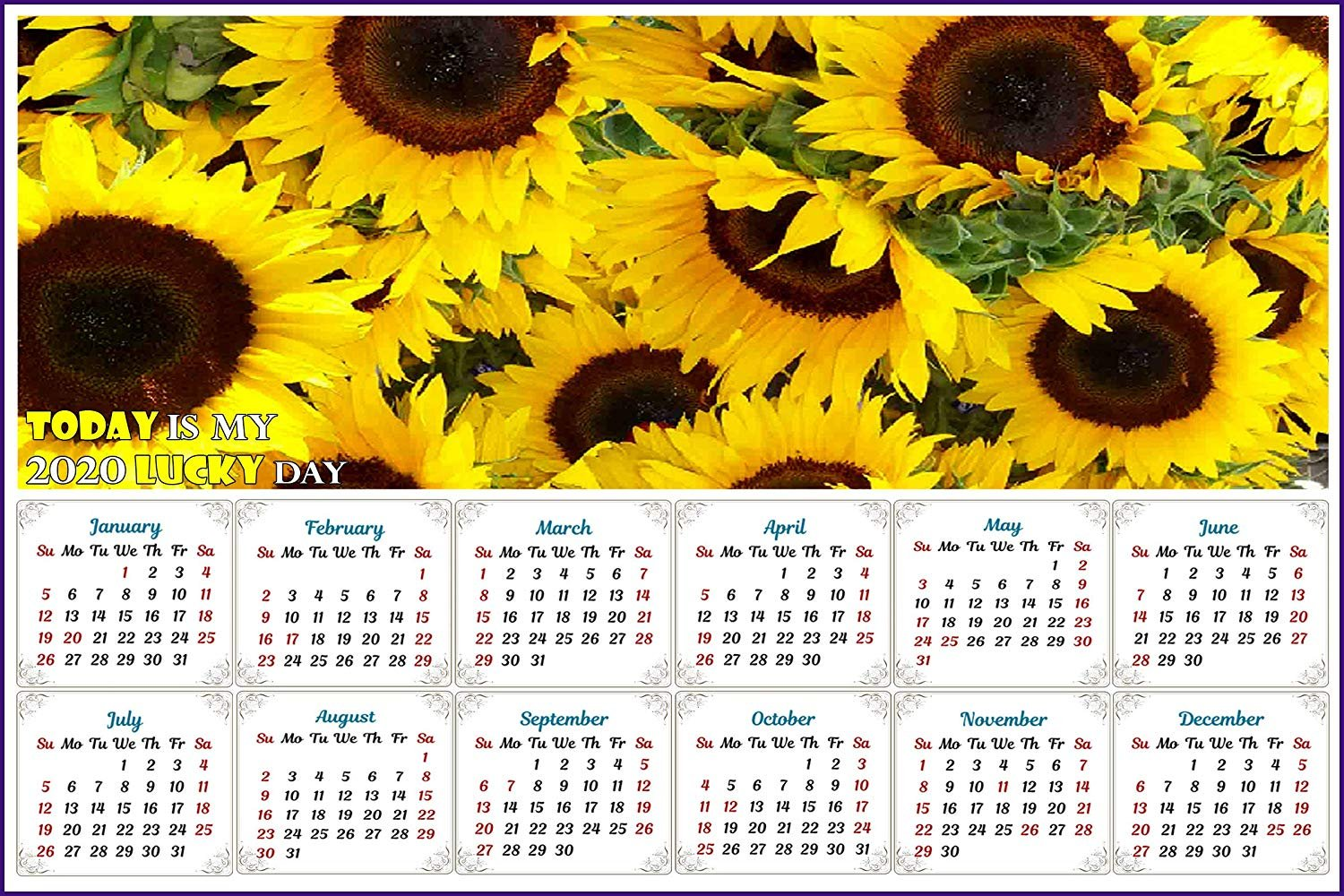 2020 Magnetic Calendar - Calendar Magnets - Today is My Lucky Day - Sunflowers