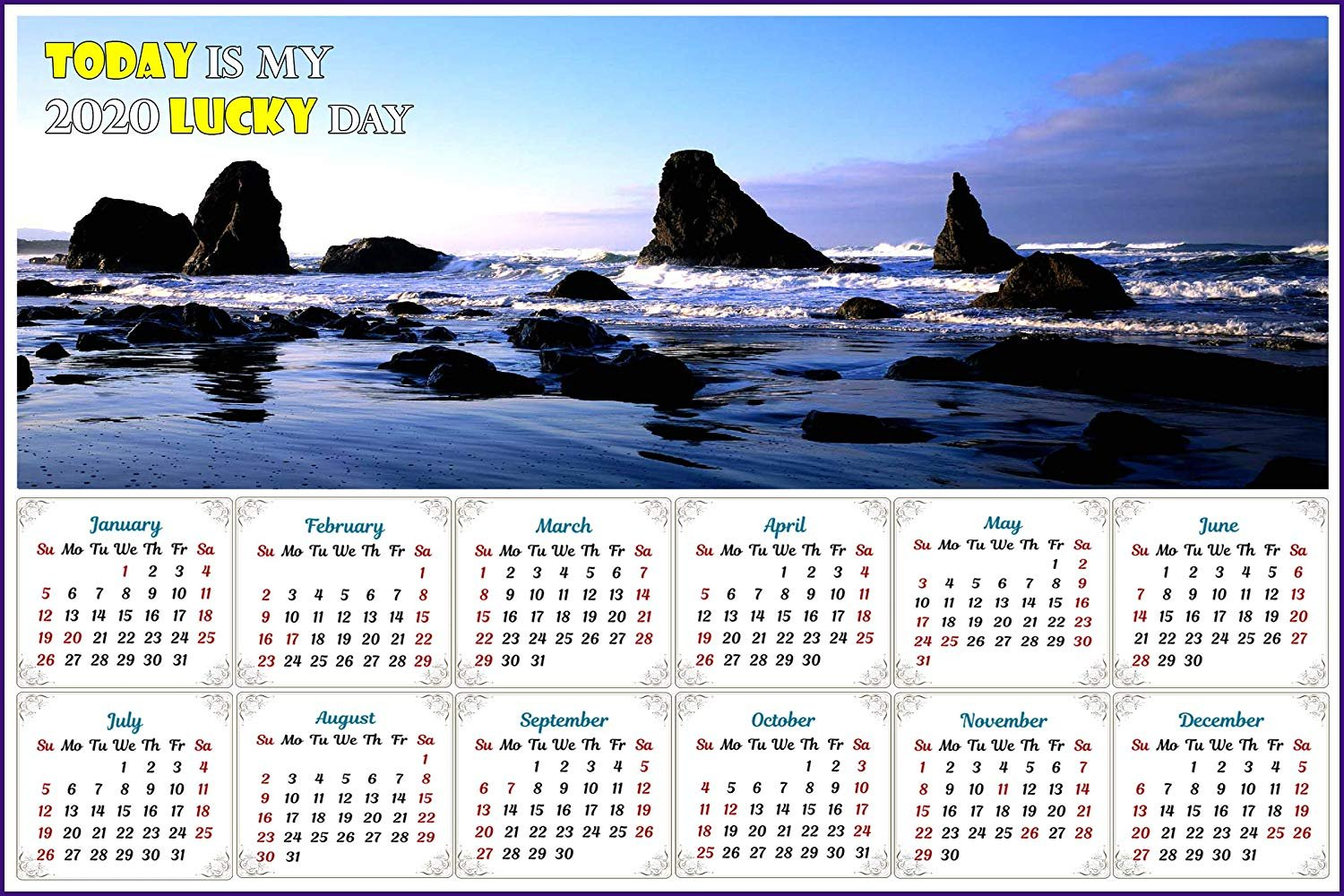 2020 Magnetic Calendar - Calendar Magnets - Today is my Lucky Day (Sea Stacks near Bandon)