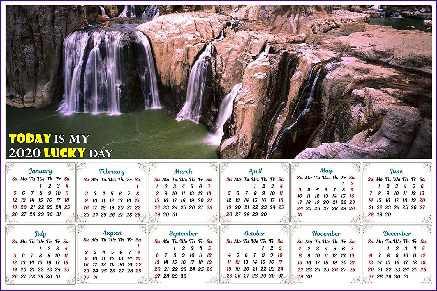 2020 Magnetic Calendar - Calendar Magnets - Today is my Lucky Day - v9