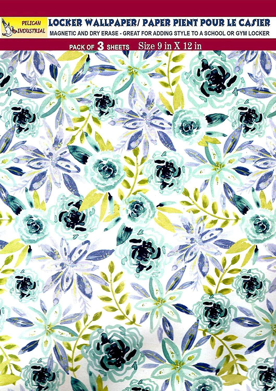 Magnetic Locker Wallpaper (Full Sheet Magnetic) - Flowers - Pack of 3 Sheets - v6c