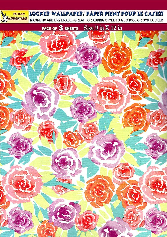 Magnetic Locker Wallpaper (Full Sheet Magnetic) - Flowers - Pack of 3 Sheets - v7c