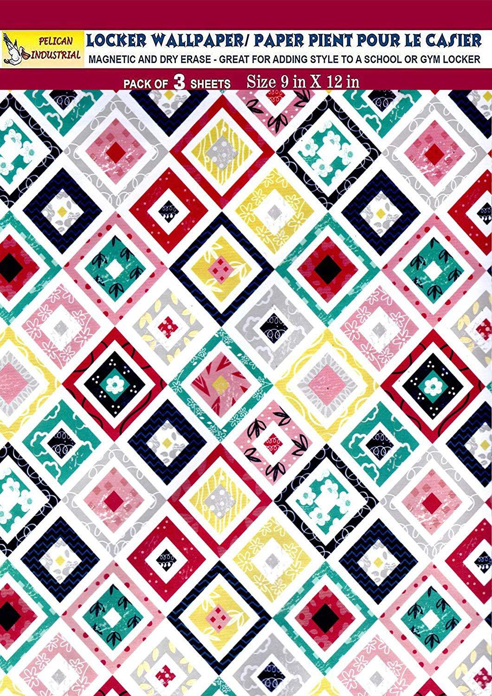 Magnetic Locker Wallpaper (Full Sheet Magnetic) - Geometric Design - Pack of 3 Sheets - v9c
