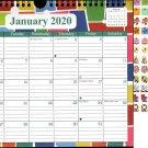 2020 Monthly Calendar - 12 Months Spiral Wall Calendar + Bonus 120 Reminder Stickers (Edition #13)