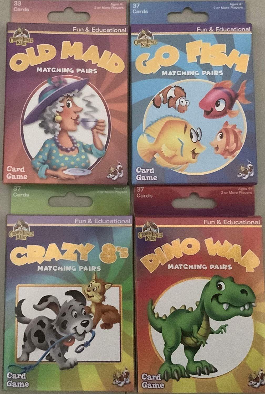 Childrens Card Games: Old Maid, Go Fish, Crazy 8S & Dino Wars (4 Decks)