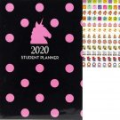 2019-2020 Student Monthly Planner Calendar (Unicorn Pink Polka Dot)