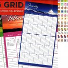 Big Grid - 16 Month 2020 Wall Calendar (September 2019 - December 2020) - with 120 Reminder Stickers
