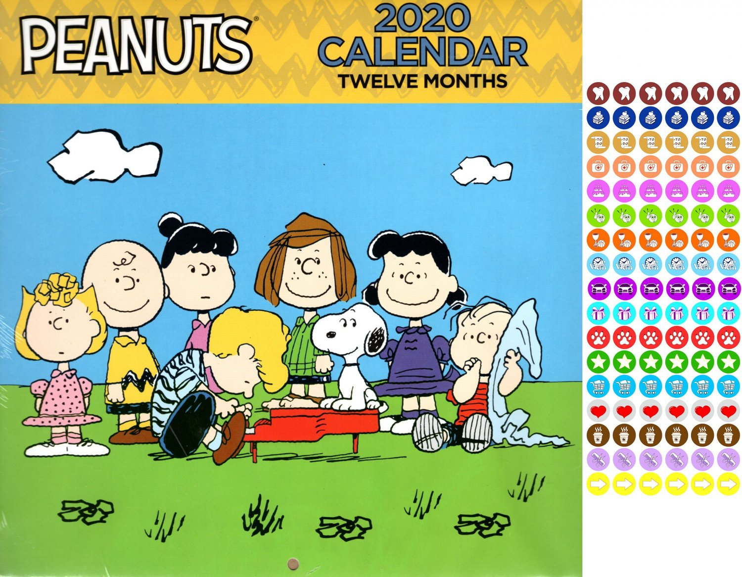 Pianuts  - 12 Month 2020 - with 100 Wall Calendar Reminder Stickers