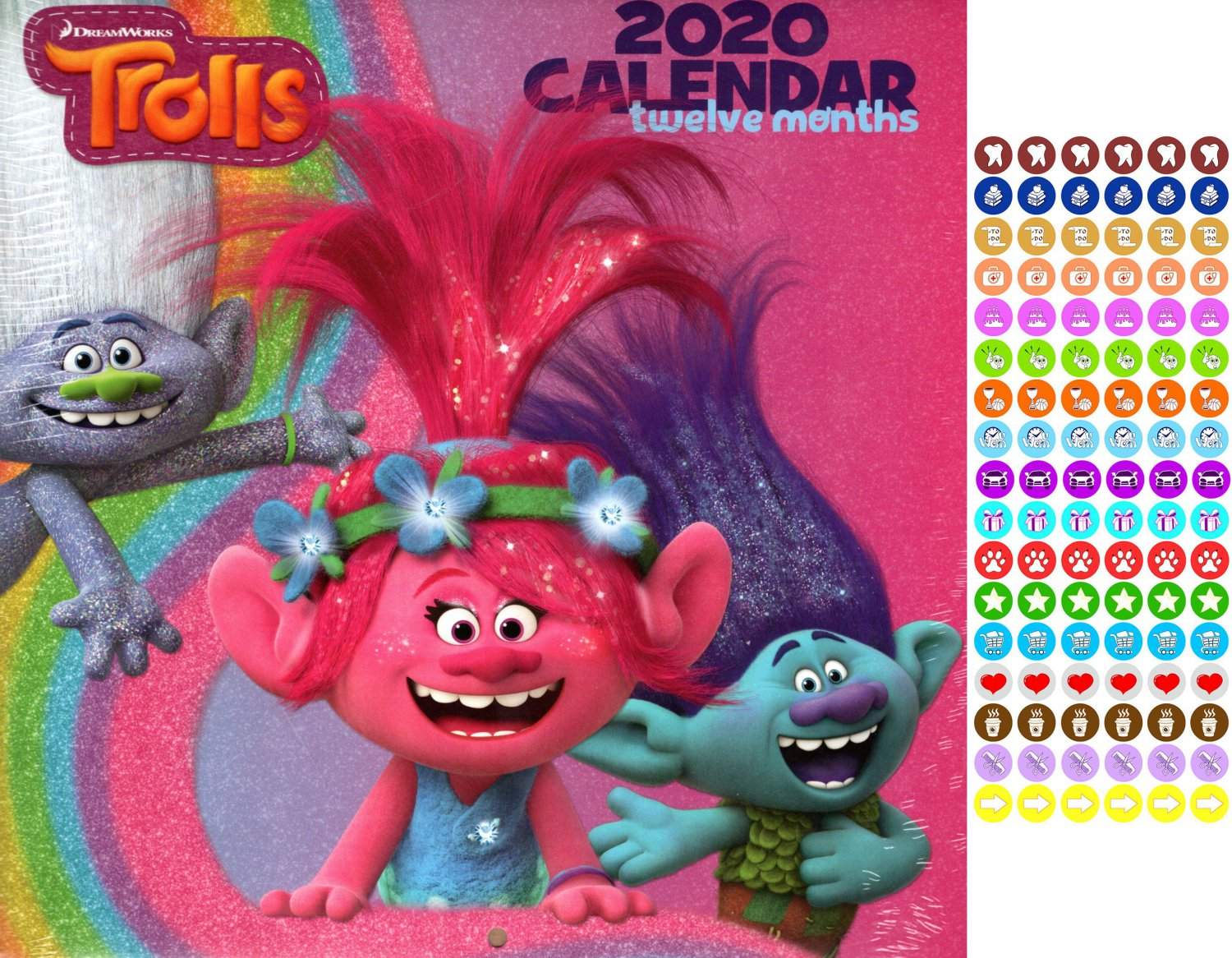 Dreamworks Trolls - 12 Month 2020 Wall Calendar - with 100 Reminder Stickers