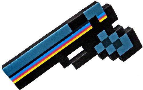 """8 Bit Pixelated Black Stone Foam Gun Toy 10"""""""
