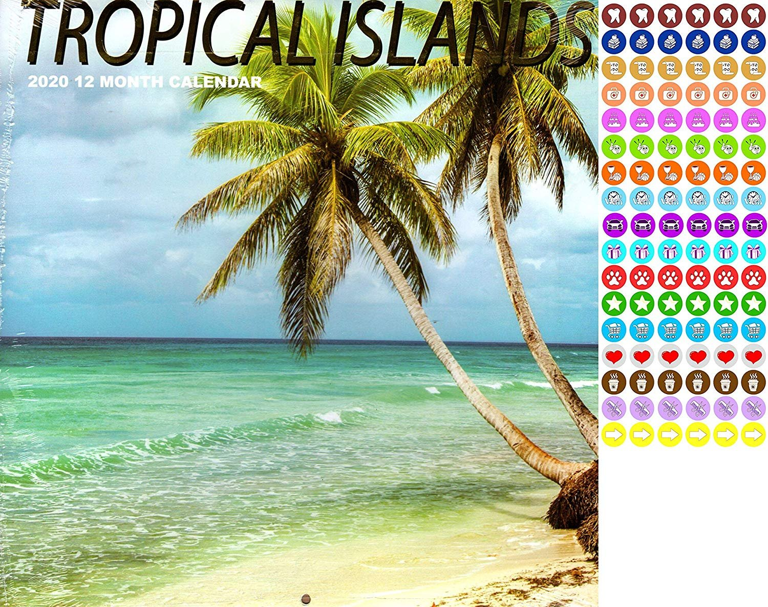 Tropical Islands - 12 Month 2020 Wall Calendar - with 100 Reminder Stickers