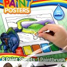 Dinosaurs Magic Paint Posters - 8 Paint Sheets + 1 Paintbrush + Stickers