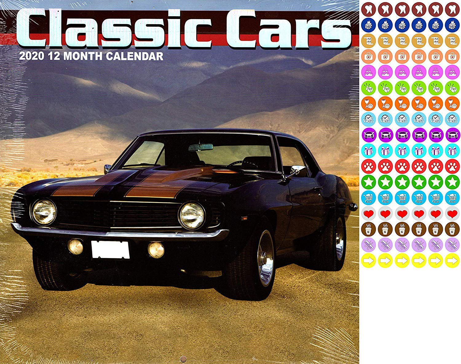 Classic Cars - 12 Month 2020 Wall Calendar - with 100 Reminder Stickers