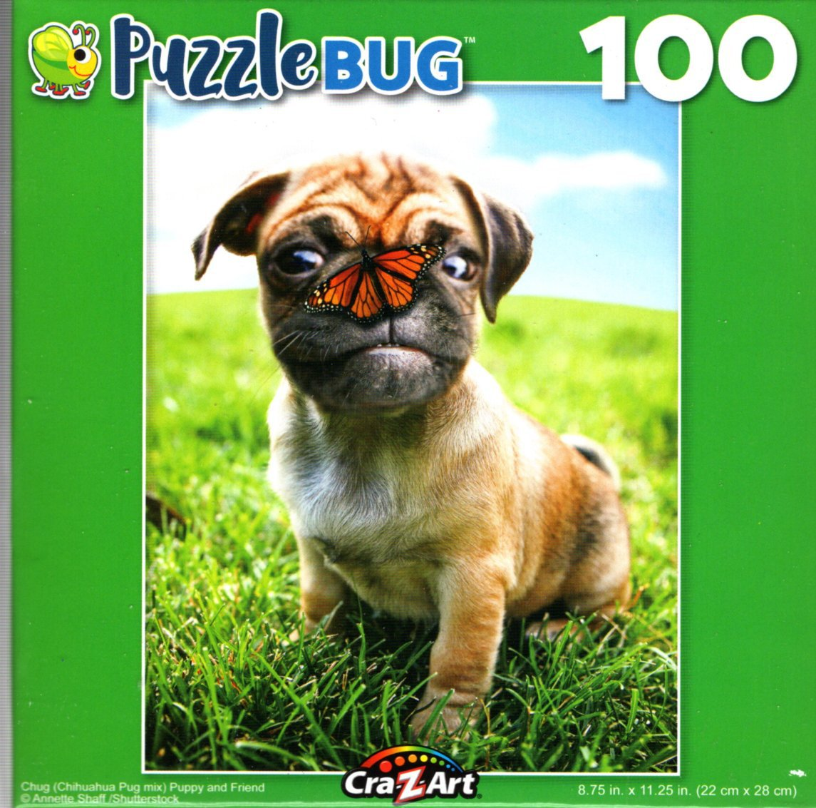 Chug (Chihuahua Pug Mix) Puppy and Friend - 100 Pieces Jigsaw Puzzle