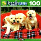 Adorable Yellow Lab Puppies in a Red Wagon - 100 Pieces Jigsaw Puzzle