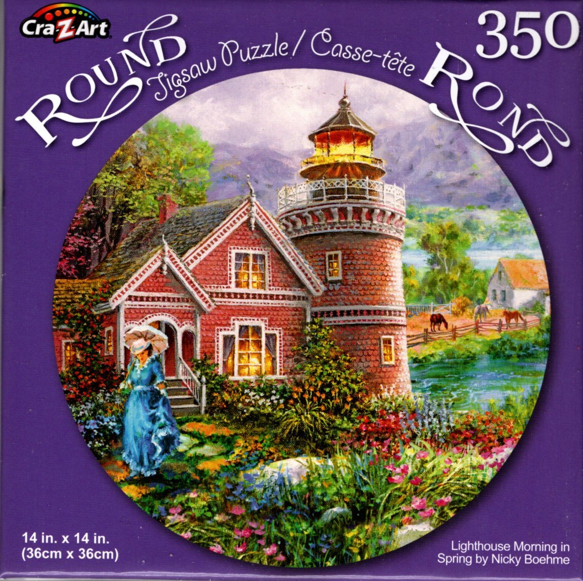 Lighthouse Morning in Spring by Nicky Boehme - 350 Piece Round Puzzle