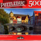 Bridge and Reflections in The Evening Gold Hour, Bruges Canal, Belgium - 500 Pieces Jigsaw Puzzle